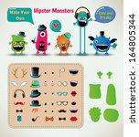vector freaky hipster monsters... | Shutterstock .eps vector #164805344