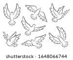 flying dove sketch vector set.... | Shutterstock .eps vector #1648066744