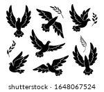 flying dove black silhouettes.  ... | Shutterstock .eps vector #1648067524