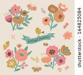 vintage floral elements in... | Shutterstock .eps vector #164825084