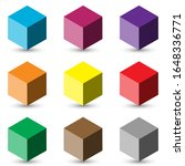 9 cubes button icons 3d many...