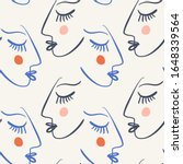 one line drawing abstract faces ... | Shutterstock .eps vector #1648339564