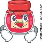 cool strawberry jam mascot... | Shutterstock .eps vector #1648376524