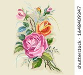 bouquet with roses in vintage... | Shutterstock .eps vector #1648409347