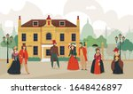 18th 19th century old town victorian composition with outdoor landscape historic cityscape and characters of people vector illustration