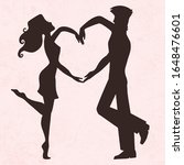 wedding couple holding hands... | Shutterstock .eps vector #1648476601