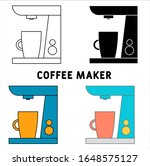 coffee maker icon in different...