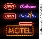 set of neon sign | Shutterstock .eps vector #164861345