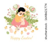 easter greeting card. cute...   Shutterstock .eps vector #1648621774