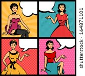 Illustration Of Retro Girls In...