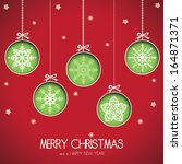 abstract green christmas balls... | Shutterstock .eps vector #164871371