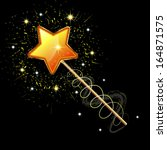 sparkling magic wand isolated... | Shutterstock .eps vector #164871575