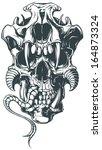 vector demon skull | Shutterstock .eps vector #164873324