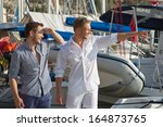 two handsome men at harbor  ... | Shutterstock . vector #164873765