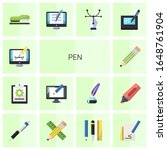 14 pen flat icons set isolated...   Shutterstock .eps vector #1648761904