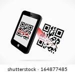 smartphone scanning qr code | Shutterstock .eps vector #164877485