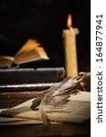 vintage still life. old books... | Shutterstock . vector #164877941