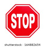 stop sign on white background | Shutterstock . vector #164882654