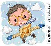 cute cartoon boy is flying on a ... | Shutterstock .eps vector #1648863694