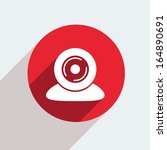 vector red circle icon  on gray ...