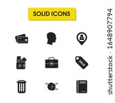 work icons set with pie chart ...