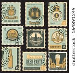 set of postal stamps on theme... | Shutterstock .eps vector #164891249