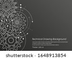 technical drawing of gears on a ... | Shutterstock .eps vector #1648913854