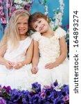 two pretty little girls in... | Shutterstock . vector #164893274