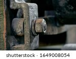 Vintage hexagon nut and screw of 19th century metalworking machinery - stock photo
