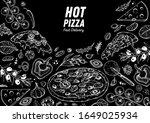 italian pizza and ingredients.... | Shutterstock .eps vector #1649025934