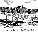 view of old village houses from ... | Shutterstock .eps vector #164906234