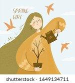 cute spring girl character....   Shutterstock .eps vector #1649134711