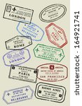 various colorful visa stamps ... | Shutterstock .eps vector #164921741