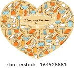 i love my kitchen   items  ... | Shutterstock .eps vector #164928881