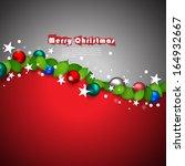 christmas balls and leaves... | Shutterstock .eps vector #164932667