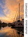 Sunset In Harbor Yacht Marina....