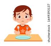 cute little kid boy feel hungry ... | Shutterstock .eps vector #1649393137