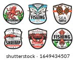 Sea Fishing Vector Icons With...