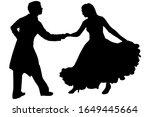 vector silhouette of a dancing... | Shutterstock .eps vector #1649445664