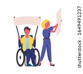activist couple in wheelchair... | Shutterstock .eps vector #1649491237