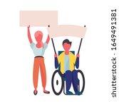 activist couple in wheelchair... | Shutterstock .eps vector #1649491381