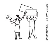 activists couple with protest... | Shutterstock .eps vector #1649492101
