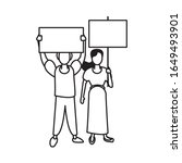 activists couple with protest... | Shutterstock .eps vector #1649493901