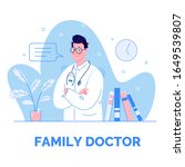 family doctor vector template.... | Shutterstock .eps vector #1649539807