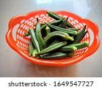 View Of Basket With Okra Ladies ...