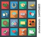 casino flat icons set elements