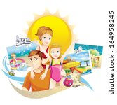 family at the beach | Shutterstock .eps vector #164958245