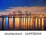 miami city skyline panorama at... | Shutterstock . vector #164958344