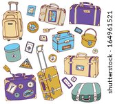 collection of vintage suitcases.... | Shutterstock . vector #164961521
