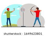 young male shooter aiming from... | Shutterstock .eps vector #1649623801